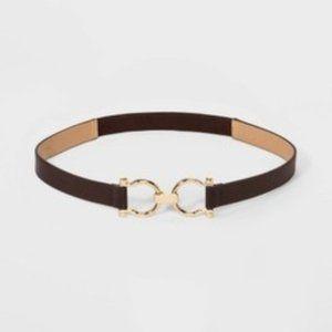 Women's Horse Shoe Buckle Belt - A New Day Brown S